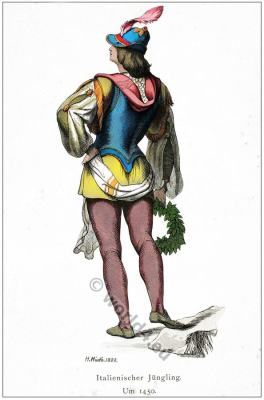 Renaissance mens Costumes. Medieval Burgundian dress. Middle ages 15th century clothing.