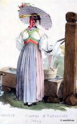 Traditional Switzerland national costume. Swiss folk costume. Clothing Canton of Nidwalden