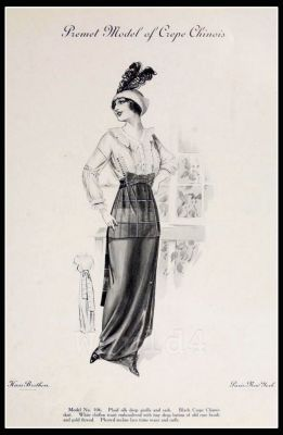 France Fin de siècle fashion. French haute couture gown. Belle Epoque costume by Couturier Mme. Premet