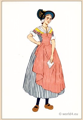 Traditional French national costumes. Woman folk dress from Bourbonnais