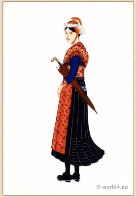 Traditional French national costumes. Woman folk dress  from Saint-Sorlin-d'Arves, Region Savoy