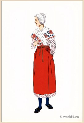 Poichoir Fashion Print. Traditional French national costumes. Woman folk dress from Burgundy