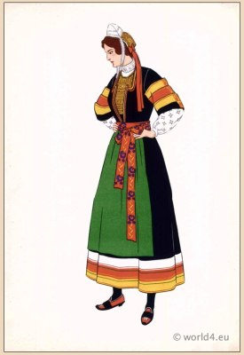 Traditional French national costumes. Woman folk dress. Pont-l'Abbé Brittany region