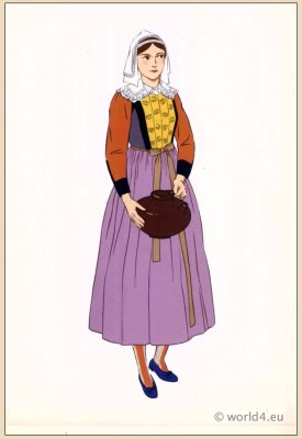 Traditional French national costumes. Woman folk dress from Île de Batz Brittany