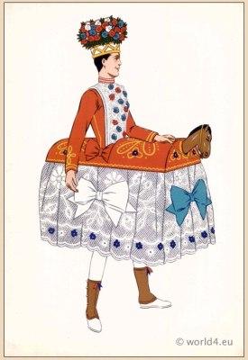 Basque Dancer. Poichoir Fashion Print. Traditional French national costumes.