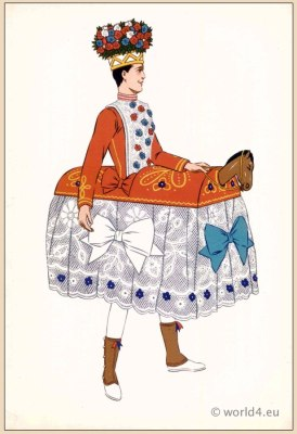 Basque Dancer. Poichoir Fashion Print. Traditional French national costumes.