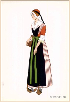 Poichoir Fashion Print. Traditional French national costumes. Woman folk dress from the Bethmale Valley, Pyrenees