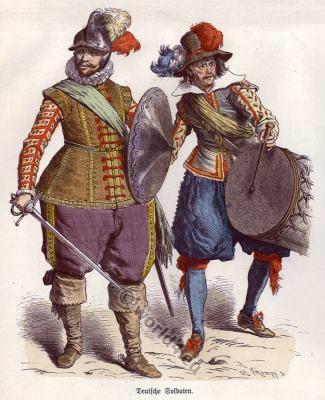Costumes Middle ages lansquenets. Medieval military, soldiers dresses. Renaissance Men`s dress