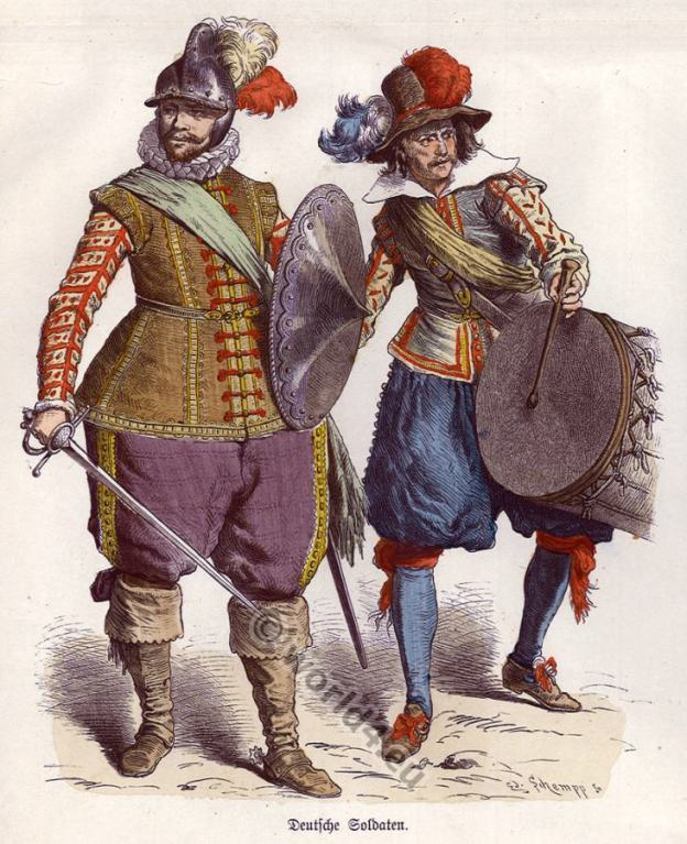 16th century clothing. German lansquenets. Medieval soldiers dress. Middle ages Renaissance costumes