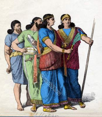 Ancient Assyrian costumes and dresses