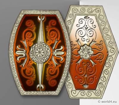 Ancient Roman Scutum Shields. Roman Army Weapons, Legionary, Soldier cuirass.