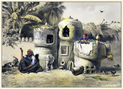 Peasant Dwellings in Upper Egypt. Traditional Egyptian costumes