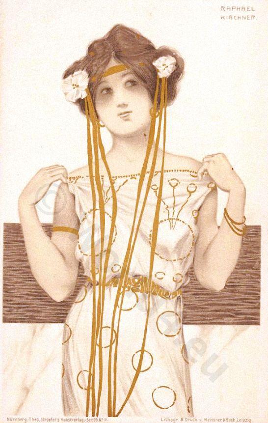 German girl in art nouveau fashion. Vintage boho costume. Fin de siècle style