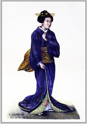 Traditional Japanese woman clothing. Antique Kimono costume.