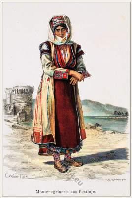 Traditional Montenegro national costumes. Montenegrin Folkdress