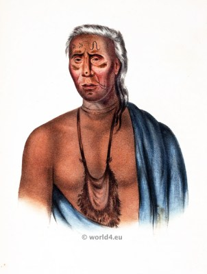 Lappawinsoe Delaware Chie. American natives costumes, illustrations and portraits. Indian Tribes clothing of North America.
