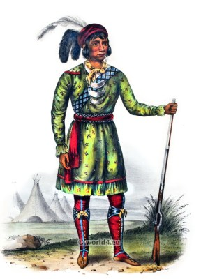 Osceola. Seminole Leader. American natives costumes. Indian Tribes. North America.