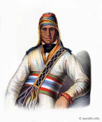 A Creek chief. American natives costumes. Indian Tribes of North America. Western Tribal warriors.