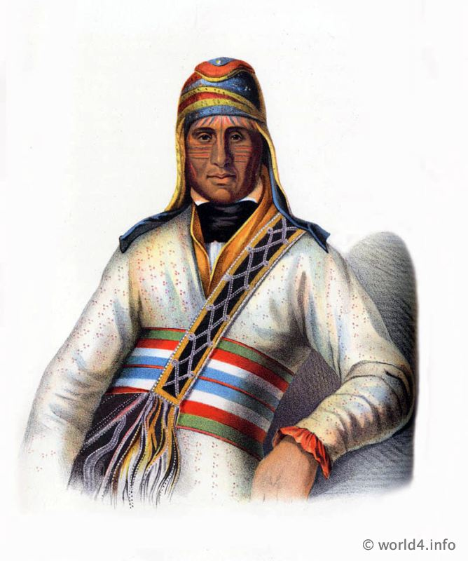American natives, costumes, illustrations, portraits, Indian,
