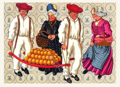 Netherlands traditional costumes. Women and mens dress.