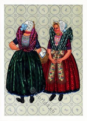 Dutch national costumes. Dutch Women`s folk clothing.