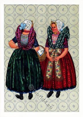 Netherlands traditional costumes. Women`s folk dresses.