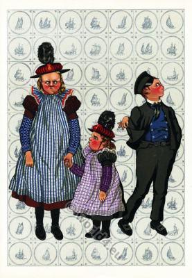 Dutch national costumes. Dutch Children folk dresses.