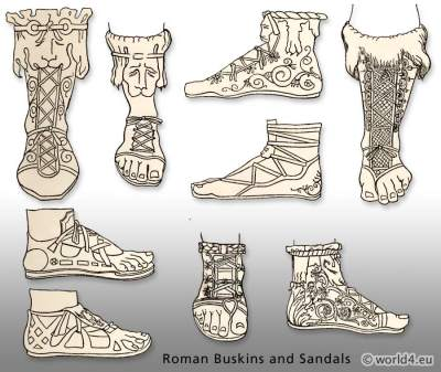 Ancient Roman shoes. Buskins and Sandals.