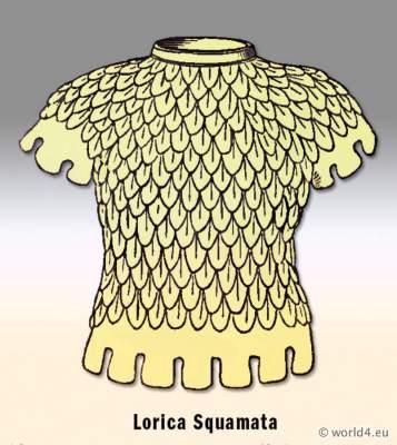 Ancient Roman armor. Lorica Squamata. Roman Army, Legionary Soldier cuirass.