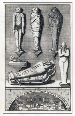 Egyptian Mummy. The burial mummification. Mummies of Ancient Egypt in a sarcophagus