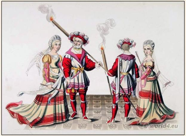 Costumes 15th century. Medieval Renaissance clothing. Tapestry, Middle ages dress
