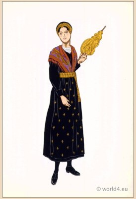 Sainte-Foy-Tarentaise dress, Traditional Savoy costume. Woman national folk clothing. Poichoir Fashion Print.