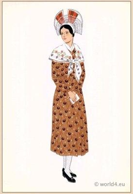 Traditional French Champagne costumes. Woman national folk clothing. Poichoir Fashion Print.