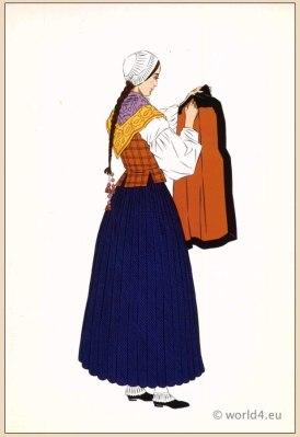 Traditional French Eaux-Bonnes Pyrénées costume. Mens national folk clothing Poichoir Fashion Print.