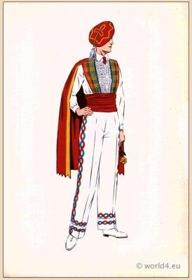 Traditional French Basque Dancer costume. Mens national folk clothing Poichoir Fashion Print.