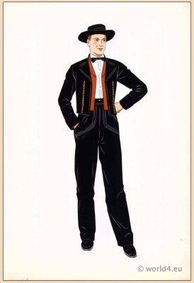 Traditional French Alsace costume. Mens national folk clothing. Poichoir Fashion Print.