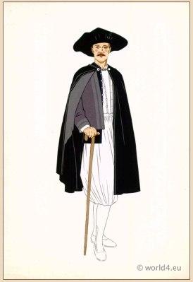 Traditional French Ile de Batz, Brittany costume. Mens national folk clothing. Poichoir Fashion Print.