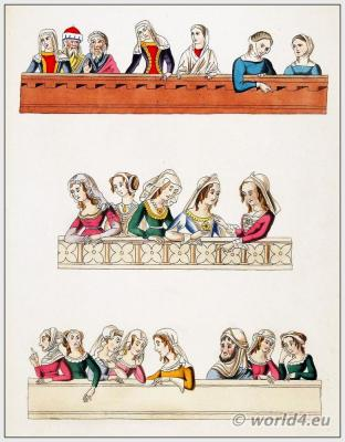 Medieval hairstyles and Headdresses. 14th Century clothing