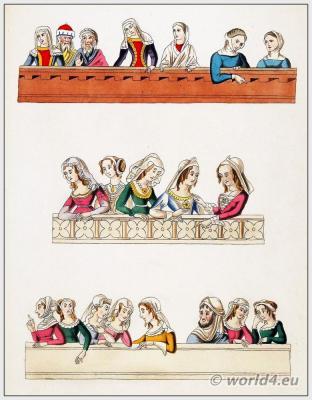 Medieval Headdresses, Headgear, headwear 14th Century. Middle ages woman fashion. King Meliadus, Arthur's Knights