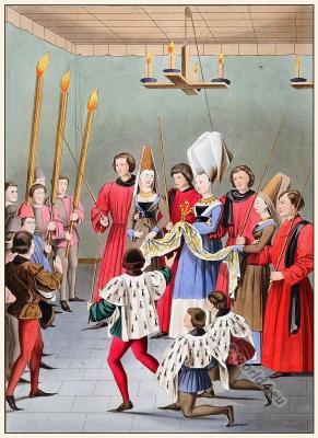 Tournament, Knights, honour, fin amors, Middle ages, Burgundy costume. Traite des Tournois,