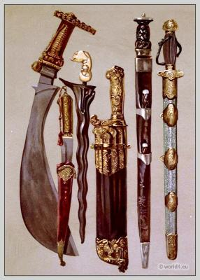 A Polygar's knife. A Persian dagger and sheath. A malay Kris. Case of hunting-knives, or Couteaux de chasse. Rob Roy's dirk by Andrea Ferrara. A Tartar sword in brass-mounted shagreen scabbard.