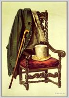 Sir Walter Scott's body clothes. Coat, waistcoat, hat and walking stick.