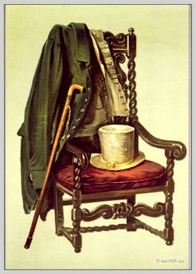 England regency clothing. Sir Walter Scott's body clothes. Coat, waistcoat, hat and walking stick.