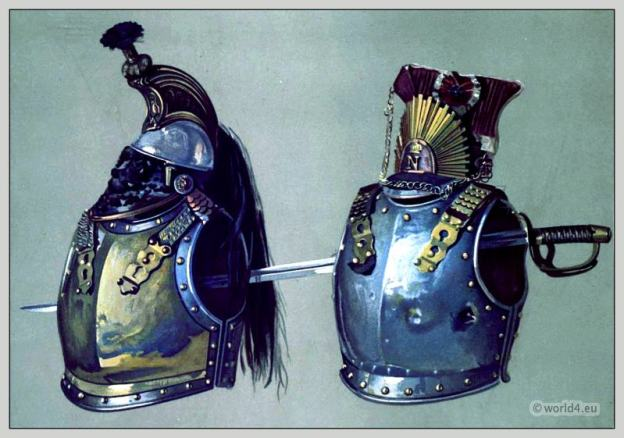 Battle of Waterloo. French cuirasses and sword. army of Emperor Napoleon I.