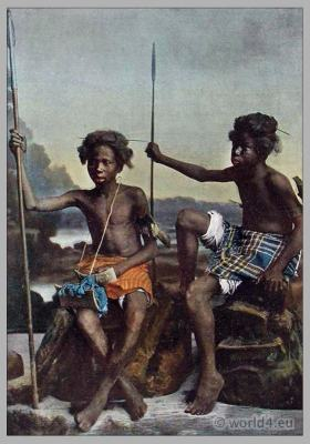 African Nomads costumes. Traditional Ababda tribe warriors, weapons, dress.