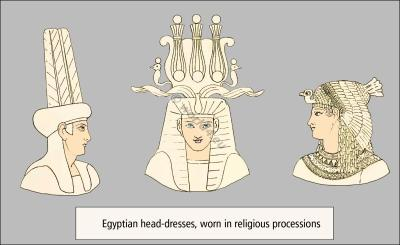 Atef crown, crown feathers. Egypt Pharaoh religious head-dresses. Blue Crown.