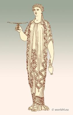 Greek woman with bib over peplos. Ancient greek costume history