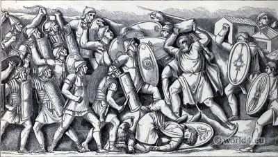 Ancient Roman and Dacian armor and weapons. Battle between the Romans and the Dacians.