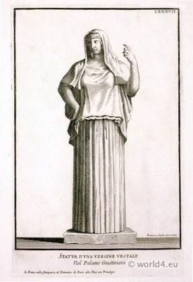 Roman costume. Ancient Roman sculpture. Antique Vergine Vestale dresses