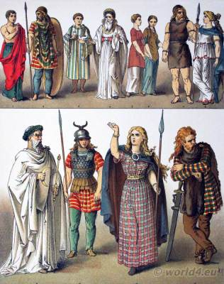Ancient British, Gallic and German Costumes. Druid Priestly Costume Gaul Boadicea British Chietainess Costume